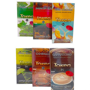 TOKEN FLAVORED ROLLING PAPERS | 1 1/4 SIZE | DISPLAY OF 24 BOOKLETS