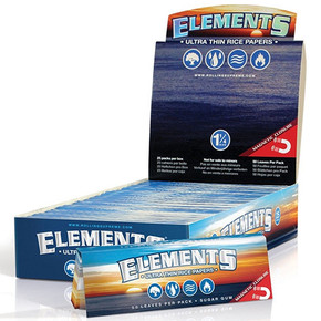 ELEMENTS ULTRA THIN RICE ROLLING PAPERS | 1 1/2 SIZE | 25 PACK DISPLAY