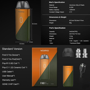 VOOPOO | FIND S TRIO POD SYSTEM STARTER KIT | WITH 3ML REFILLABLE POD | 1200MAH