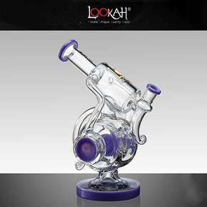 LOOKAH | GLASS WATER PIPE | DUAL CHAMBER RECYCLE & DISC PERC | 9.5"
