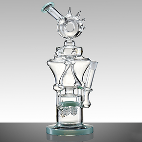 UNIQUE GLASS WATER PIPE | SPIKE DONUT RECYCLE & TREE PERC | 921G | 16"