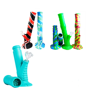 """SILICONE TWO PIECE WATER PIPE WITH ICE CATCHER 