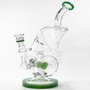 LOOKAH | DUAL CHAMBER COIL RECYCLER GLASS WATER PIPE W/ DUAL DISC PERCS | 961 GRAMS | 14 IN. | (1WPC752)