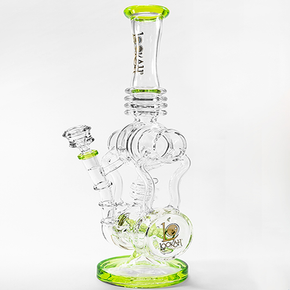 LOOKAH | DUAL CHAMBER GLASS WATER PIPE W/ INLINE PERC - 1147 GRAMS - 18 IN. | ASSORTED COLORS (1WPC759)
