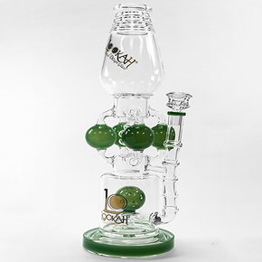 LOOKAH | DUAL CHAMBER GLASS WATER PIPE W/ SPRINKLER PERC | 1408 GRAMS | 18 IN. | ASSORTED COLORS (1WPC754)