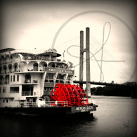 American Queen Paddle Wheel and Bridge BW 5x7
