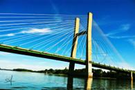 Burlington Great River Bridge from River Postcards