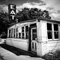 Maidrite Eat Sign and Door BW