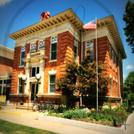 Macomb Library and Flag