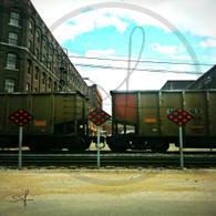 BNSF Box Cars on Market St Tracks