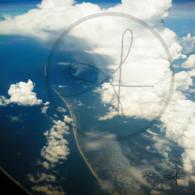 Belize Coast Line through Clouds