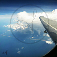 Belize Shoreline from Plane with Wing