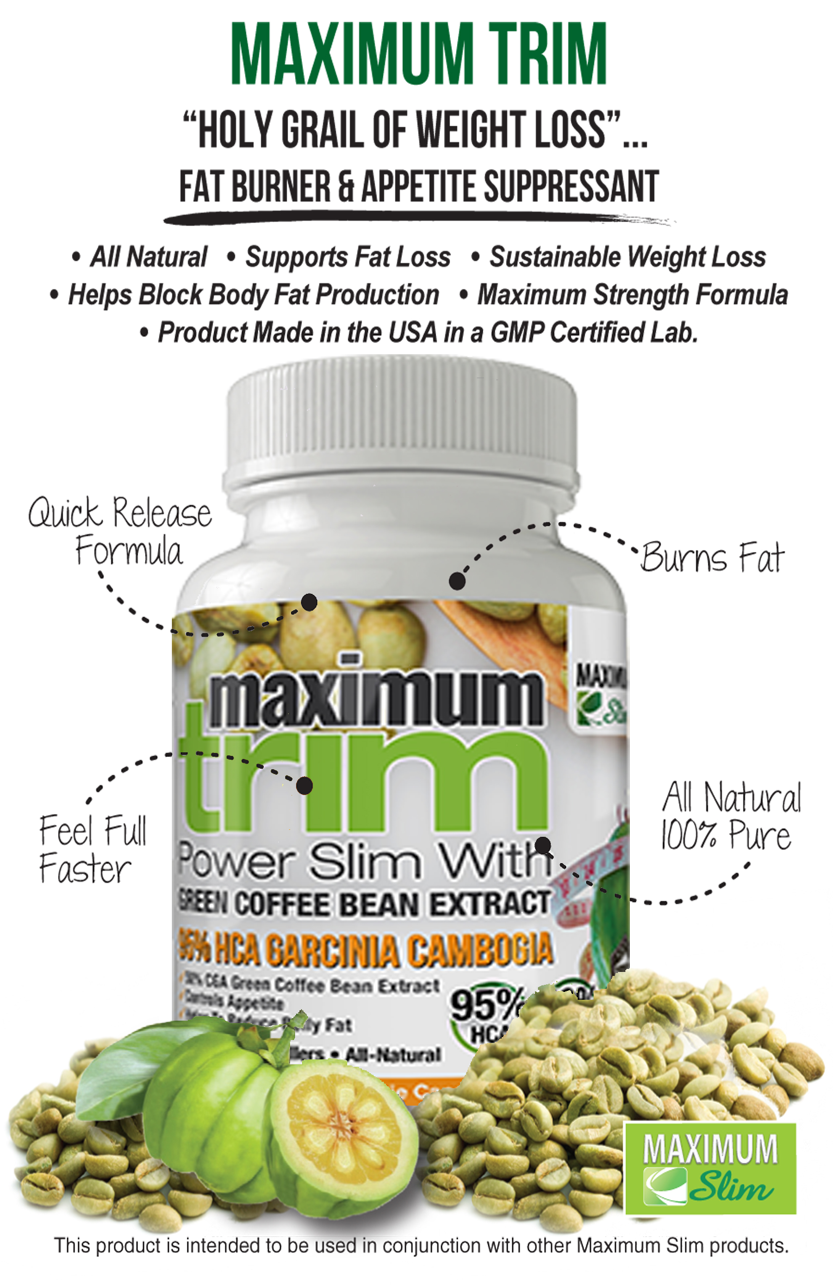Max Trim Garcinia Cambogia Green Coffee Bean Extract 30 Ct