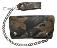 Men's Leather Bifold Camouflage Biker Chain Wallet USA Made