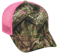 Mossy Oak Country Camouflage Neon Hot Pink Mesh Back Baseball Cap