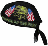 Men's Cotton Lined Home of the Free Because of the Brave Skull Cap Do Rag