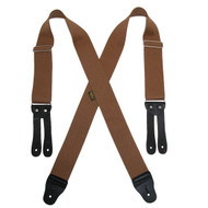 Welch Men's Elastic X Back Button End Work Suspenders Tan