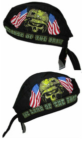 Cotton Home of the Free Because of the Brave Skull Cap Do Rag (Pack of 2)