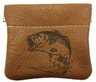 Leather Engraved Largemouth Bass Squeeze Coin Pouch USA Made