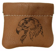 Leather Engraved American Bald Eagle Head Squeeze Coin Pouch USA Made