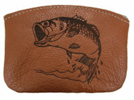 Leather Engraved Largemouth Bass Zippered Coin Pouch USA Made