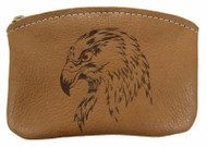 Leather Engraved Eagle Head Zippered Coin Pouch USA Made