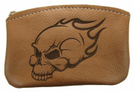 Leather Engraved Flaming Skull Zippered Coin Pouch USA Made
