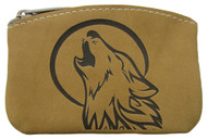 Leather Engraved Howling Wolf Zippered Coin Pouch USA Made
