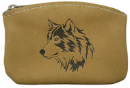 Leather Engraved Wolf Head Zippered Coin Pouch USA Made