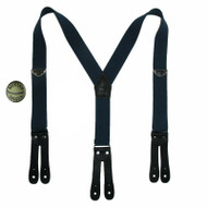 Welch Men's Elastic Button-End Double Face Suspenders with Bachelor Buttons, Navy