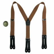 Welch Men's Elastic Button-End Double Face Suspenders with Bachelor Buttons, Tan