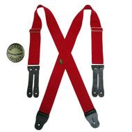 Welch Men's Elastic X Back Button End Work Suspenders with Bachelor Buttons, Red