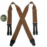 Welch Men's Elastic X Back Button End Work Suspenders with Bachelor Buttons, Tan