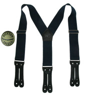 Welch Men's Elastic Button End Double Face Suspender with Bachelor Buttons, Navy