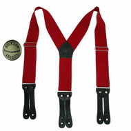 Welch Men's Elastic Button End Double Face Suspender with Bachelor Buttons, Red