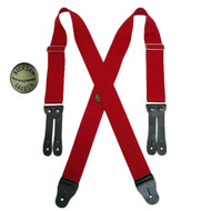 Welch Big & Tall Elastic X Back Button End Suspenders with Bachelor Buttons, Red