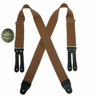 Welch Big & Tall Elastic X Back Button End Suspenders with Bachelor Buttons, Tan