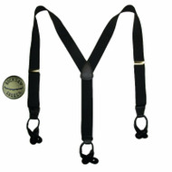 Men's Elastic Button End Suspenders with Bachelor Buttons USA Made, Black