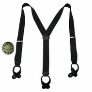 Button End Silver Hardware Dress Suspenders and Bachelor Buttons USA Made, Black