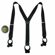 Big & Tall Silver Hardware Button End Suspenders with Bachelor Buttons USA, Black