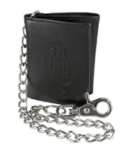 Dickies Black Leather Trifold Tri-Fold Wallet with Metal Chain