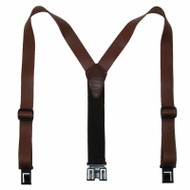 Big and Tall Perry Suspenders Men's Leather Dress Hook End Suspenders, Brown