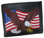 Embroidered American Bald Eagle American Flag Bifold Wallet USA Made