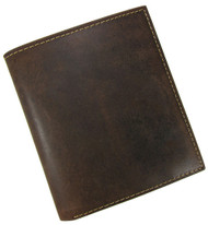 Full Grain Distressed Brown Leather Hipster Bifold Wallet