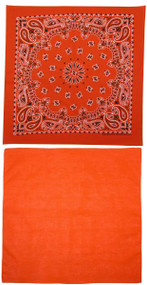 Traditional Paisley and Solid Color Orange Double Sided Bandanas USA Made (Pack of 2)
