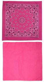 Traditional Paisley and Solid Color Hot Pink Double Sided Bandanas USA Made (Pack of 2)