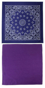 Traditional Paisley and Solid Color Purple Double Sided Bandanas USA Made (Pack of 2)
