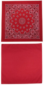 Traditional Paisley and Solid Color Red Double Sided Bandanas USA Made (Pack of 2)