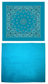 Traditional Paisley and Solid Color Turquoise Double Sided Bandanas USA Made (Pack of 2)