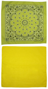 Traditional Paisley and Solid Color Yellow Double Sided Bandanas USA Made (Pack of 2)